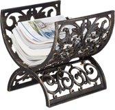 relaxdays tijdschriftenrek antiek - lectuurbak vintage - brandhout rek - krantenbak bronzen