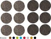Vilt onderzetters 10x10cm Grijs en Zwart kleur 12 stuks Ronde Onderzetters Decoratie Bar Glazen onderzetter