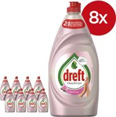 Dreft Clean & Care Afwasmiddel - Rose & Satin - 8 x 780ml - Voordeelverpakking
