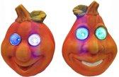 Halloween pompoen met LED ogen  - set van 2 stuks