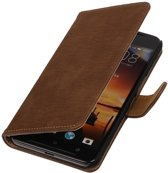 Wicked Narwal | Bark bookstyle / book case/ wallet case Hoes voor HTC One X9 Bruin