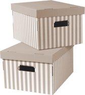 Set van 2 Gestreepte Kartonnen Bewaardozen - Taupe/Wit