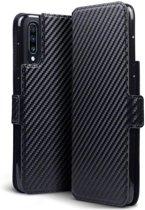 Hoesje voor Samsung Galaxy A70, carbon look 3-in-1 bookcase, zwart