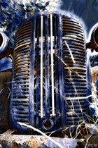 Gril, voorkant van klassieke auto / oldtimer, industrieel, blauw | industrieel, metaal, abstract, modern | Foto schilderij print op Dibond / Aluminium (metaal wanddecoratie) | 150x100cm