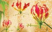 Fotobehang Bloemen | Rood, Oranje | 312x219cm