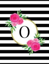 Black and White Striped Pink Floral Monogram Journal with Letter O