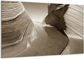 Schilderij | Canvas Schilderij Zand | Sepia | 120x70cm 1Luik | Foto print op Canvas