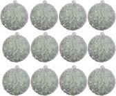 Foam Kerstballen met pailletten (8 cm) Box 12 Stuks Eucalyptus