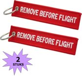 Fako Bijoux® - Sleutelhanger - Remove Before Flight - Rood - 2 Stuks
