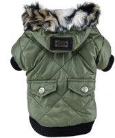 Honden jas - Winterjas voor honden - Winter jas - Gevoerde hondenjas met capuchon - Maat L - Groen