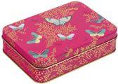 Bewaarblik Vlinder - Roze - Rechthoek - Blik - 14,5 x 10 x 4 cm - Sara Miller London