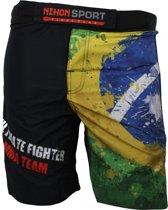 Nihon Fightshort Brazil Heren Zwart/geel Maat Xxl