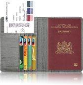 Paspoorthoesje / Paspoorthouder - V1 - Houtpatroon Grijs