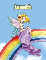 Janeth: Personalized Composition Notebook - Wide Ruled (Lined) Journal. Rainbow Fairy Cartoon Cover. For Grade Students, Eleme