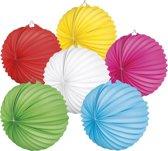 24 stuks: Papieren ballonlampion in 6 kleuren - assorti - 23cm