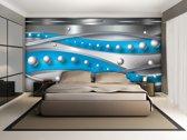 Fotobehang Papier Abstract, Modern | Zilver, Blauw | 368x254cm