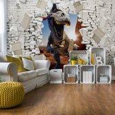 Fotobehang 3D Dinosaur Bursting Through Brick Wall | V8 - 368cm x 254cm | 130gr/m2 Vlies