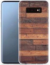 Galaxy S10 Plus Hoesje Houten planken