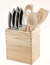 Messenblok MISTERY BOX & opbergvak met 6 utensils - natural hout