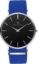 Wallace Hume Zwart - Horloge - Perlon - Blauw