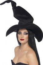 Halloween Hoge heksenhoed met kreukels