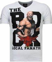 Local Fanatic The Rock - Rhinestone T-shirt - Wit - Maten: M