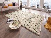 Hoogpolig vloerkleed Calla - crème/groen 160x230 cm