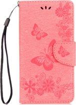 Mobigear Vlinder Bookcase Hoesje Roze Motorola Moto G5 Plus