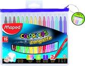 Color'peps goed uitwasbare viltstift - in ophangbaar kunststof etui met rits x  15