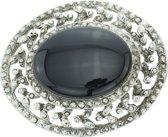 Ovale broche met grote zwarte steen
