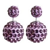 Fako Bijoux® - Oorbellen - Double Disco Dots - Mini - Paars