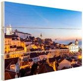 Zonsopgang Lissabon Hout 80x60 cm - Foto print op Hout (Wanddecoratie)