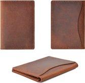 Lederen cardholder vintage bruin - leren portemonnee - creditcard houder - ideaal voor ov kaart en uw dagelijkse pasjes, papiergeld.