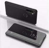 Let op type!! Voor Xiaomi Redmi Note 8 plating spiegel horizontale Flip lederen draagtas met beugel holster (zwart)