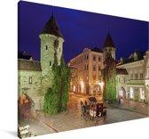 Mooie verlichting in het Stadshart van Tallinn Canvas 60x40 cm - Foto print op Canvas schilderij (Wanddecoratie woonkamer / slaapkamer)