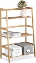 relaxdays opbergrek bamboe met 3 etages boekenrek badkamerrek boekenkast