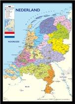 Nederland kaart luxe poster ingelijst zwarte fotolijst aanbieding 50x70cm.
