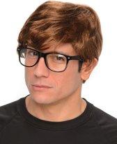 Geheim agent pruik met bril voor mannen - Verkleedpruik