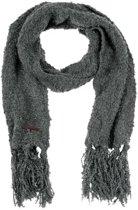 Sjaal Dames - Trendy Gebreide Acryl Sjaal - Granitepatroon Mêlee - Wintersjaal - Antraciet - 190 cm