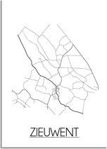 DesignClaud Zieuwent Plattegrond poster  - A3 + Fotolijst wit (29,7x42cm)