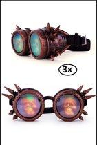 3x Steampunk bril koper spikes en 3D skelet