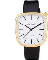 Leren Dames Horloge - Vierkant - Zwart & Goud - Carsidun