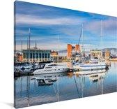 De jachthaven van Belfast Canvas 120x80 cm - Foto print op Canvas schilderij (Wanddecoratie woonkamer / slaapkamer) / Europese steden Canvas Schilderijen