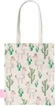 BEACHLANE - Katoenen tasje - Canvas Tote Bag Shopper - Alpaca Lama print - Schoudertas / Boodschappen tas