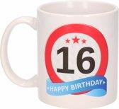 Verjaardag 16 jaar verkeersbord mok / beker