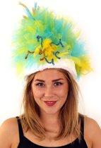 Fur hoed blauw/geel