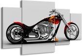 Canvas schilderij Motor   Grijs, Zwart, Oranje   160x90cm 4Luik