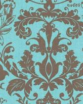 Notes: 108 Page College Ruled Notebook 8x10: Aqua Blue Gorgeous Damask
