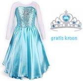 Frozen Elsa verkleedjurk maat 128/134  (140) + gratis kroontje