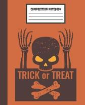 Trick or Treat Composition Notebook: Orange Skull & Bones - Wide Ruled Blank Lined for kids, teens, students, teachers, school, home, college writing
